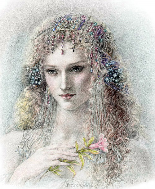 Persephone, formidable, venerable majestic queen of the underworld, who carries into effect the curses of men upon the souls of the dead. Japanese illustrator Kinuko Craft