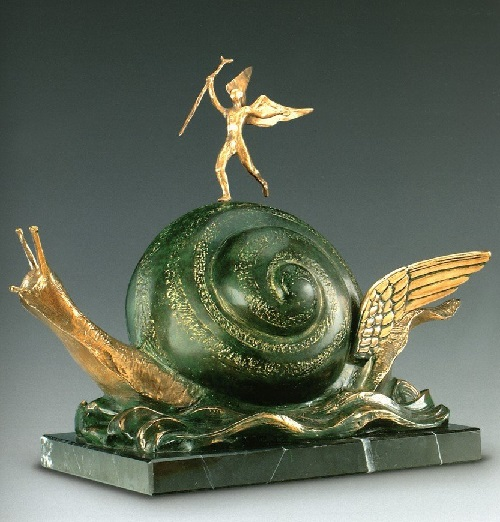 The Snail and the Angel. Salvador Dali bronze sculpture