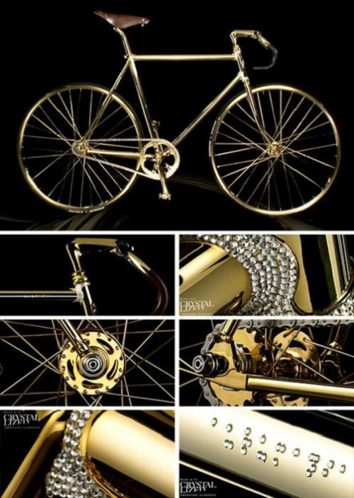 Most unusual gold products. Gold bicycle by Dutch company Aurumania