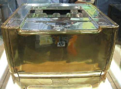 Most unusual gold products. Hewlett-Packard gold printer