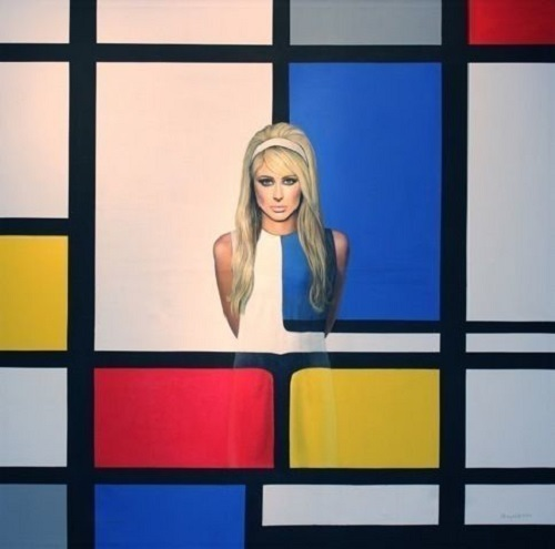 Mondrian Girl. Acrylic on Canvas. American artist Sherry Wolf