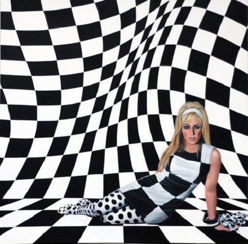Op Art Girl. Acrylic on Canvas. American artist Sherry Wolf