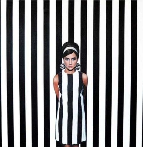 Stripe Girl. Acrylic on Canvas. American realist painter Sherry Wolf