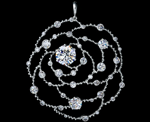 Byzantium high jewellery Pendant. white gold, diamonds. Beauty and Art of Jewellery Theatre