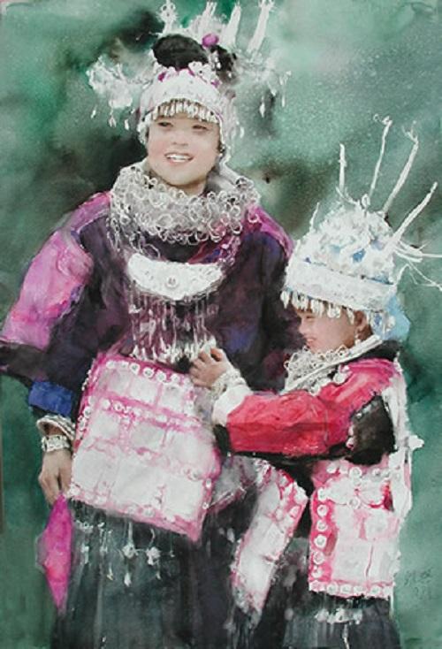 Miao women traditional silver jewelry