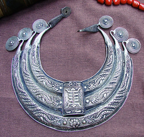 Miao women traditional silver jewelry