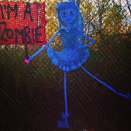 Blue ballerina. Crochet street art by London Kaye