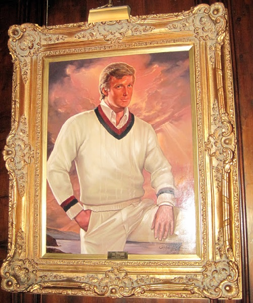 Guests are greeted by a portrait of the young Trump in a tracksuit