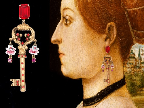 Portrait of Ginevra d'Antonio Lupari Gozzadini, attributed to the Maestro delle Storie del Pane. Winter/Fall 2014-15 Jewelry collection Dolce&Gabbana keys opening hearts
