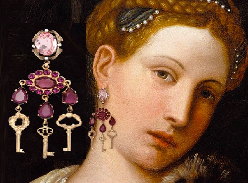 Portrait of Tullia d`Aragona as Salome, Moretto da Brescia. Winter/Fall 2014-15 Jewelry collection Dolce&Gabbana keys opening hearts