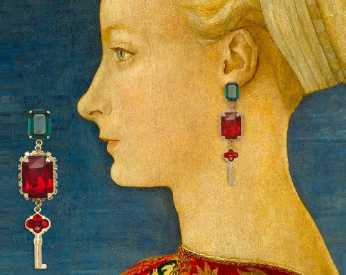 Portrait of a Woman by Italian artist Antonio Pollaiuolo (Florence ca. 1432–1498 Rome). Winter/Fall 2014-15 Jewelry collection Dolce&Gabbana keys opening hearts