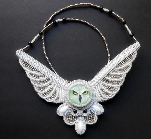 Slavic calendar 2015 White Owl year. Pendant. Made by Anastasia Plotnikova, Russia