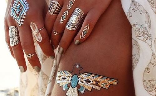 Gold foil temporary tattoos