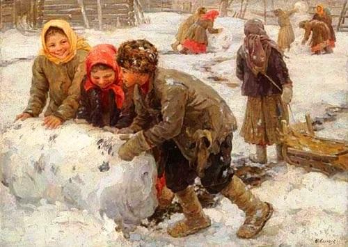 Fedot Sychkov 'Modeling snowman' 1910