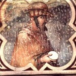 Man sculpts a snowman. Detail of the fresco of the Palazzo Publico in Siena, Italy. 1390s