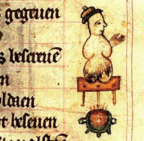 Snowman with charred bum in the 14th century Book of Hours