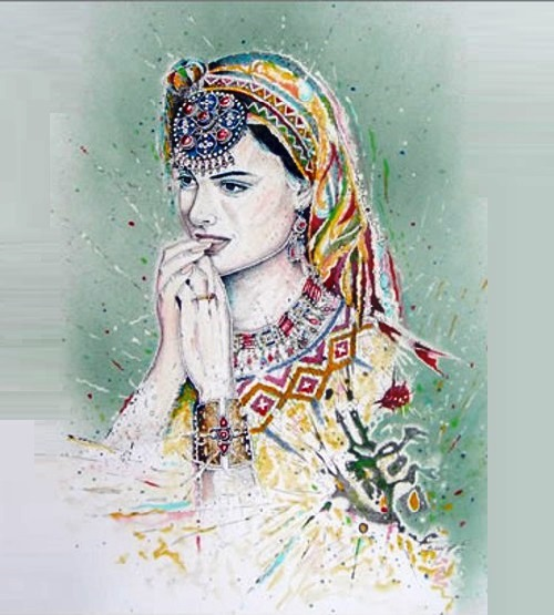 Drawing depicting Berber tribal woman