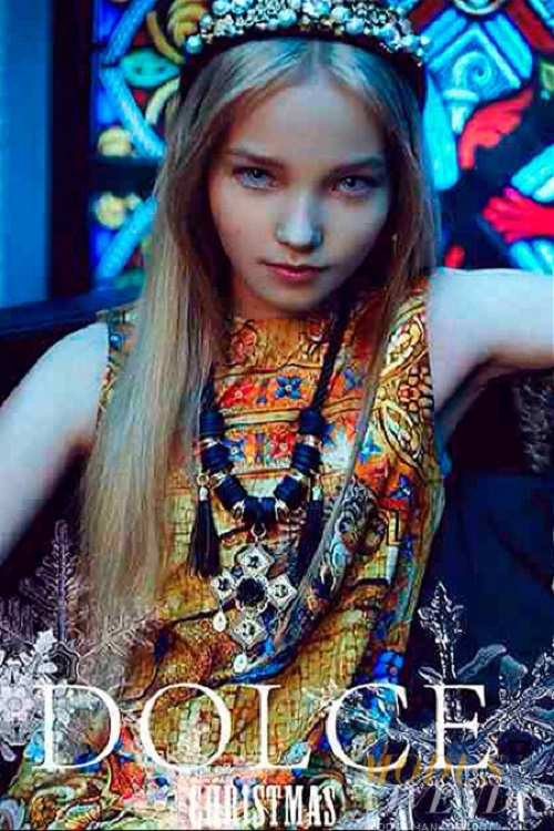 Future top model Milena Korobeynikova. Dolce Christmas
