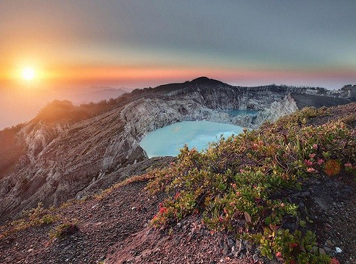 Kelimutu volcano on the island of Flores rarely visited by tourists