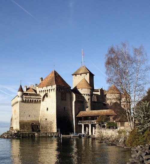 The medieval castle of X – XI centuries Chillon on Lake Geneva. Open to the public for visits and tours