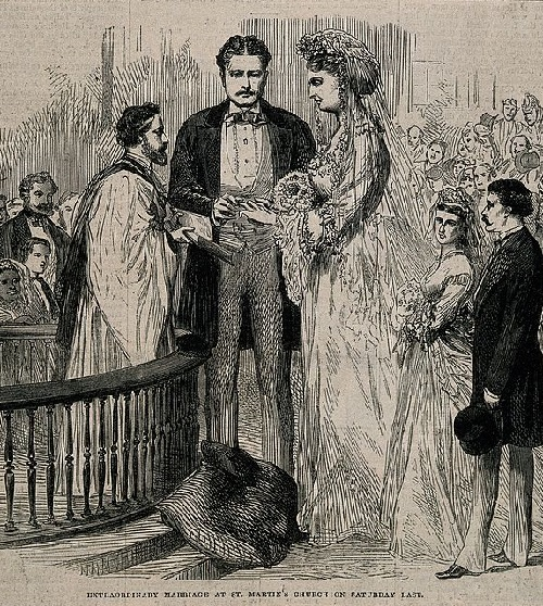 The marriage of Martin van Buren to the tallest woman of the time Anna Swan, 1871