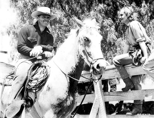 at their ranch in Encino, 1940