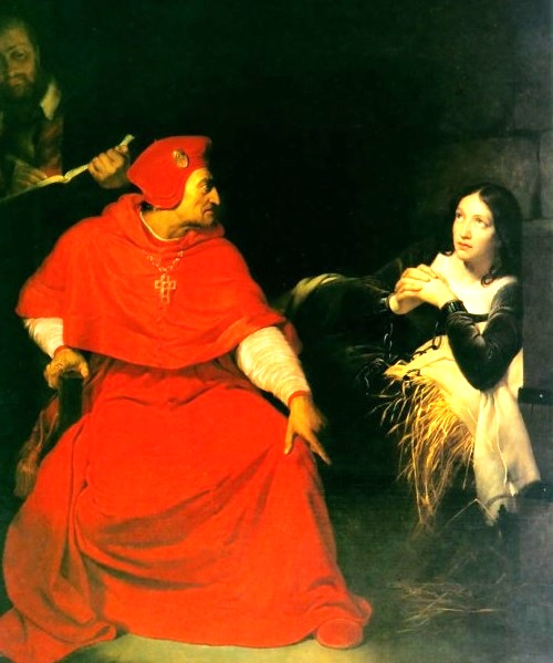 Interrogation of Joan by Cardinal of Winchester (Paul Delaroche, 1824). Museum of Fine Art, Paris
