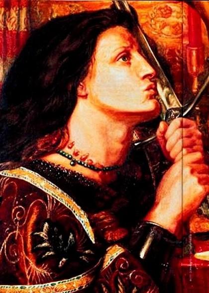 French heroine Joan of Arc. Dante Gabriel Rossetti, 1863