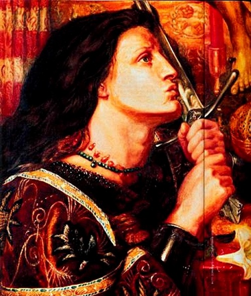 French heroine Joan of Arc. Dante Gabriel Rossetti, 1863