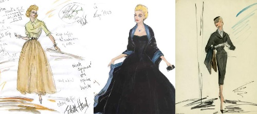 Costume sketches by Edith Head for the heroine of Alfred Hitchcock's movie 'Vertigo' (1958) performed by Kim Novak