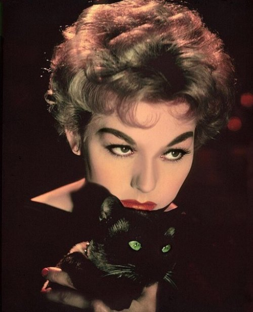 Gorgeous Kim Novak with black cat
