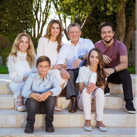 King Abdullah with Queen Rania, Prince Hussein , Princess Iman, Princess Salma and Prince Hashim