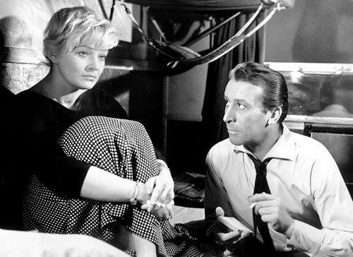 Leon Nemchik and Lucyna Winnicka in the film by Jerzy Kawalerowicz 'Mysterious Passenger'. 1959