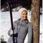 Skiwear 1970s, model Camilla Sparv