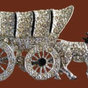 Oregon trail wagon, from the series of small rhinestone pave brooches called 'Yankee Doodlers'