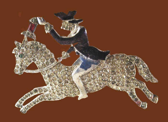 Paul Revere enameled brooch of silver tone metal and rhinestones. A series of small rhinestone pave brooches called 'Yankee Doodlers'