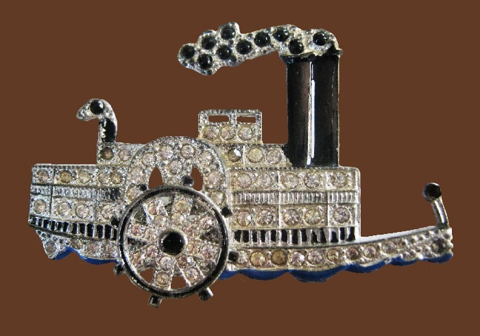 Steam river boat brooch from a series of small rhinestone pave brooches called 'Yankee Doodlers'