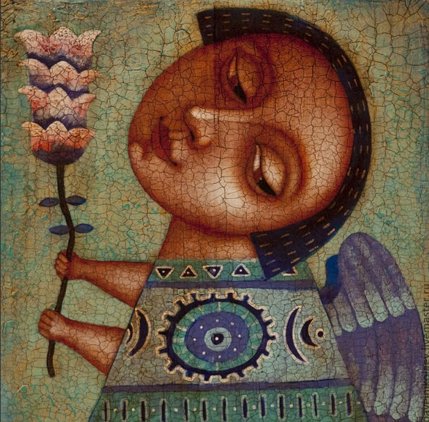 Angel with a flower. Artist Pavel Nikolaev