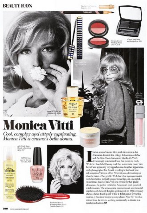 Beauty icon Monica Vitti, magazine article