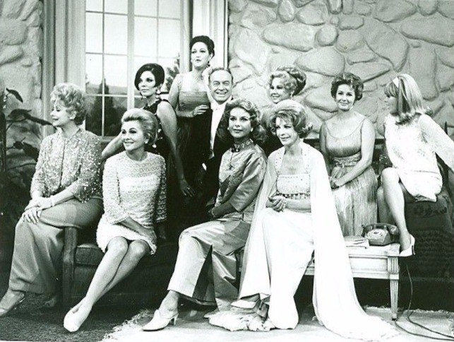 Bob Hope Show, Jerry Colonna, Lucille Ball, Joan Collins, Dorothy Lamour, Bob Hope, Joan Fontaine, Hedy Lamarr, Virginia Mayo, Vera Miles, Signe Hasso and Janis Paige, 1965