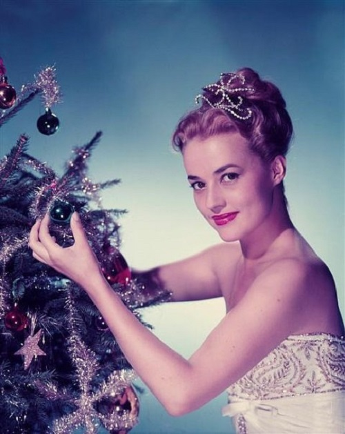 Christmas photo, Jeanne Moreau