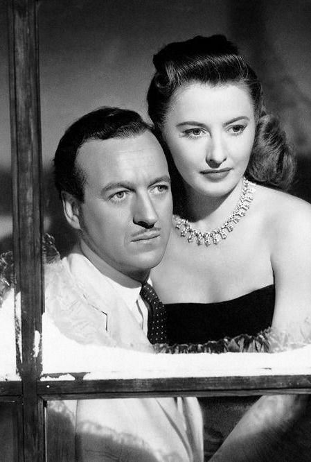 David Niven and Barbara Stanwick in a promo to the melodrama 'Another Love' (1947)