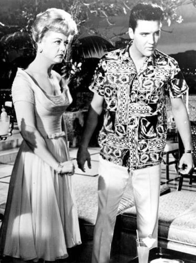 Elvis Presley and Angela Lansbury on the set of Blue Hawaii, 1961
