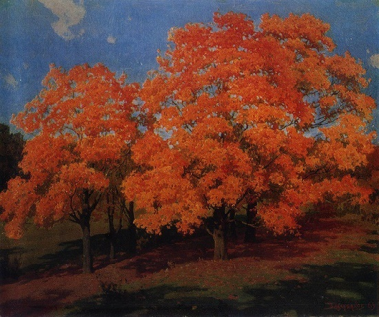 Golden maple trees. Tsaul, 1969 (from the cycle Landscapes of Moldova). Artist Boris Shcherbakov