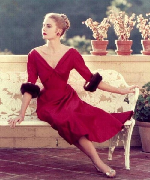 Grace Kelly wearing beautiful Bordeaux color dress