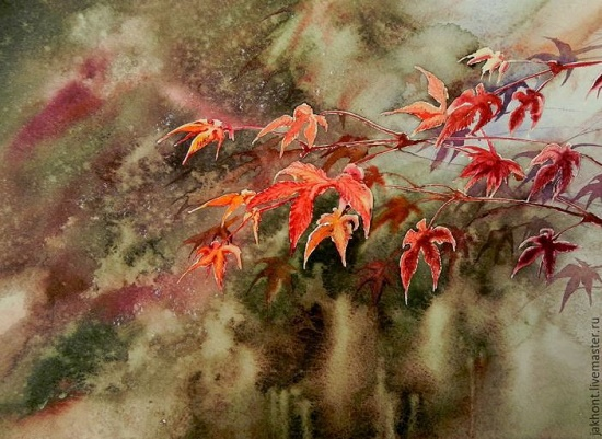 Hunt for red maple. Watercolor. Painting by Anna