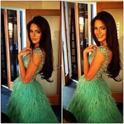 In a green sparkling dress, Kendall Nicole Jenner