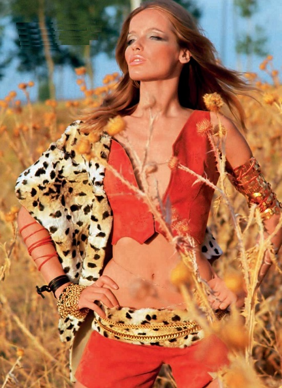 In the Savannah, 1969. Legendary fashion model Veruschka