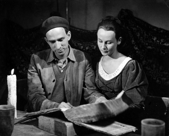 Ingmar Bergman and his favorite Swedish actress Bibi Andersson on the set of the film 'The Seventh Seal'