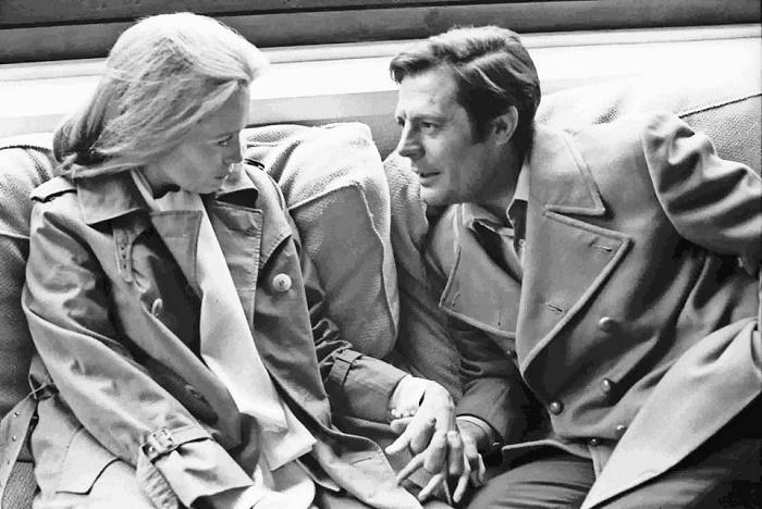Italian film director Marcello Mastroianni & Faye Dunaway